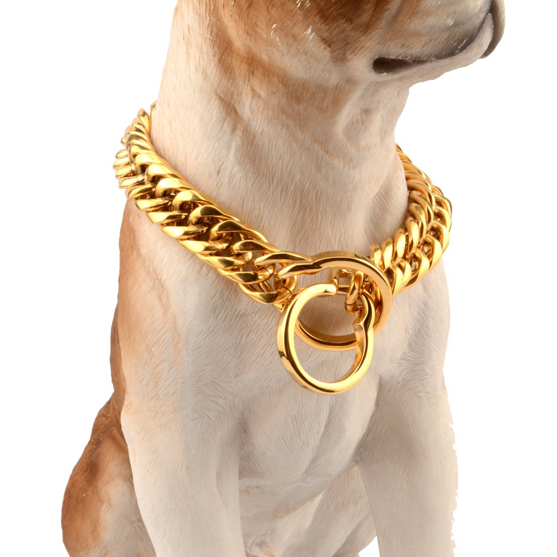 Jewelry Kingdom 1 Heavy Gold Plated Designer Strong Pitbull Dog Collar 16/18mm Wide Stainless Steel Curb Link Chain,14-34inches (18mm Wide, 28inch)
