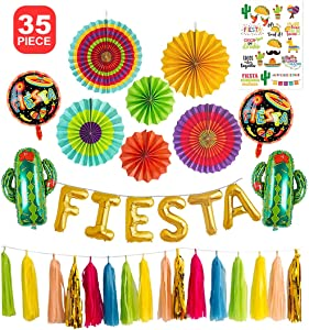 Fiesta Party Decorations Foil Balloons Backdrop Kit Balloon Banner Cactus Theme Mexican Cinco De Mayo Fiesta Taco Centerpieces Paper Fans Flower Tassel Garland…