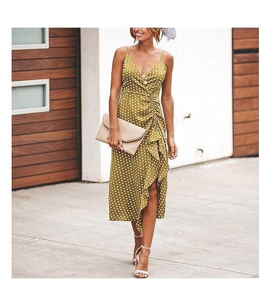 SVOSLYH The Hot Beach Dresses Summer Bohunk Korean Cloth Dot