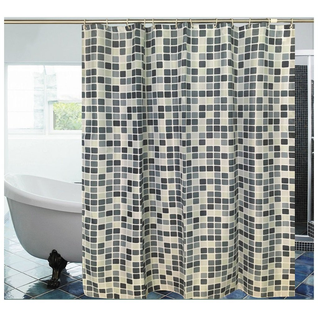 Curtain Mosaic Shower Curtain, Mildew Waterproof, Thick Polyester Cloth Shower Curtain, to Send Hooks Shower Equipment (Size : 150200cm)