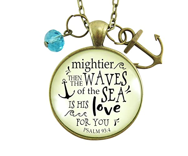 Amazoncom 24 Anchor Necklace Mightier Than The Waves Christian