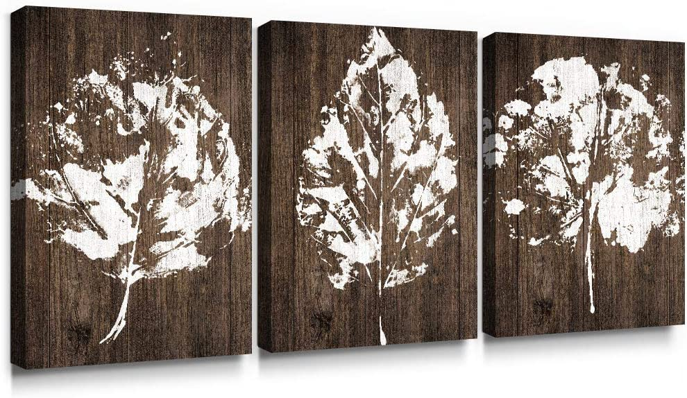 SUMGAR Large Wall Art Living Room Farmhouse Decor Rustic Pictures 3 Panel Canvas Paintings White Artwork Prints Brown Leaf,16x24 inch