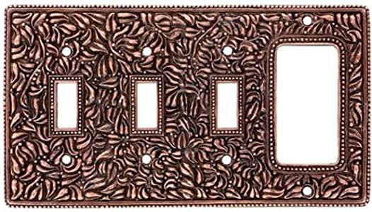 Vicenza Designs WP7018 San Michele Wall Plate with Triple Toggle and Dimmer Opening, Antique Copper