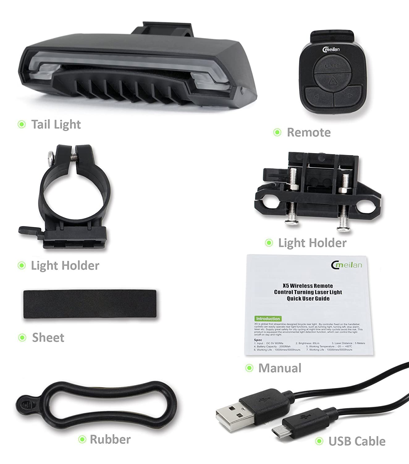Meilan Smart Bike Tail Light X5 USB Rechargeable with Wireless ...