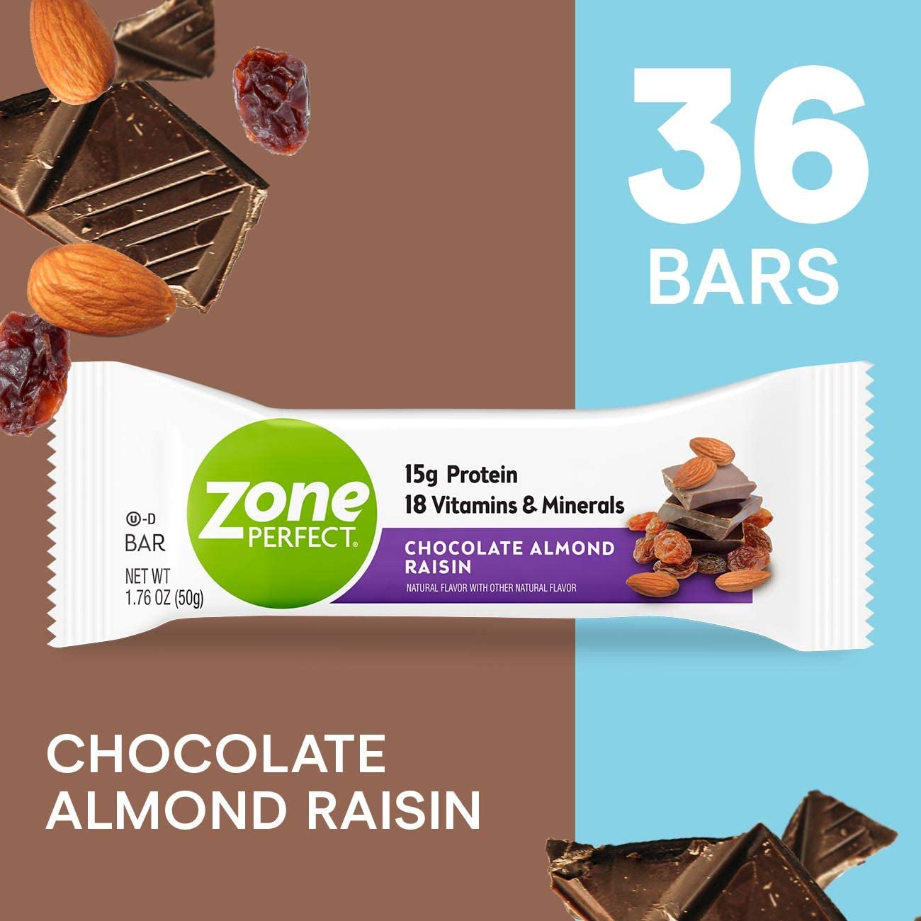 ZonePerfect Protein Bars, Chocolate Almond Raisin, 15g of Protein, Nutrition Bars with Vitamins Minerals, Great Taste Guaranteed, 36 Bars