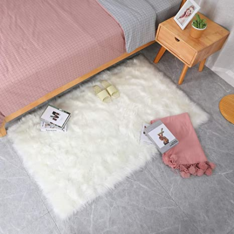 Floor Carpet Mat Plush Soft Shaggy Fluffy Faux Sheepskin Wool Rug Cover Decor