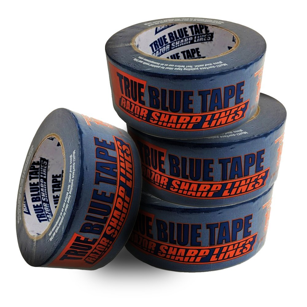 True Blue Premium Blue Professional Painter's Masking Tape – Indoor and Outdoor Use – Commercial Grade - Available in 2 Widths – Works on a Variety of Surfaces (2 Inch, 4-Pack)
