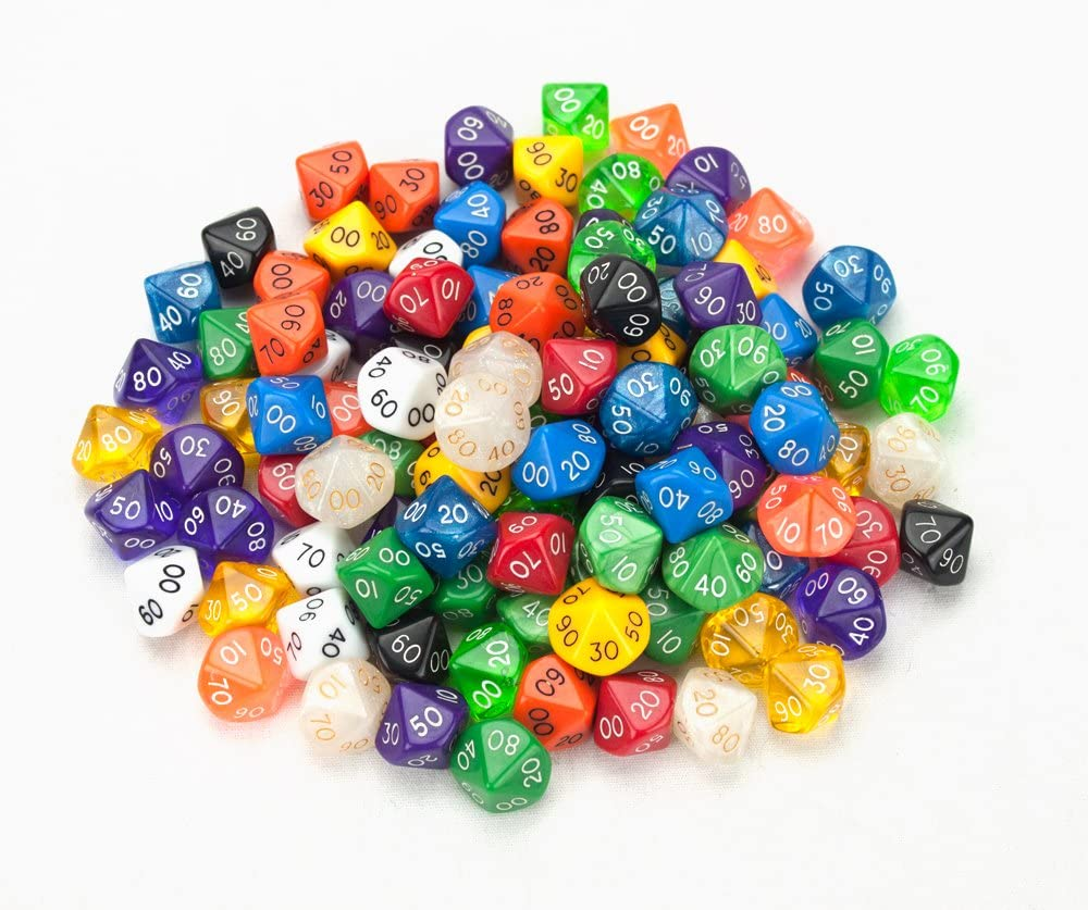 Wiz Dice 100+ Pack of Random D10(00) Polyhedral Dice in Multiple Colors