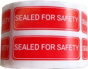SMARSTICKER Red 0.5X1.5 inch Sealed Labels,Sealed for Safety Labels/Tamper Proof Labels-Adhesive Stickers 500 pcs