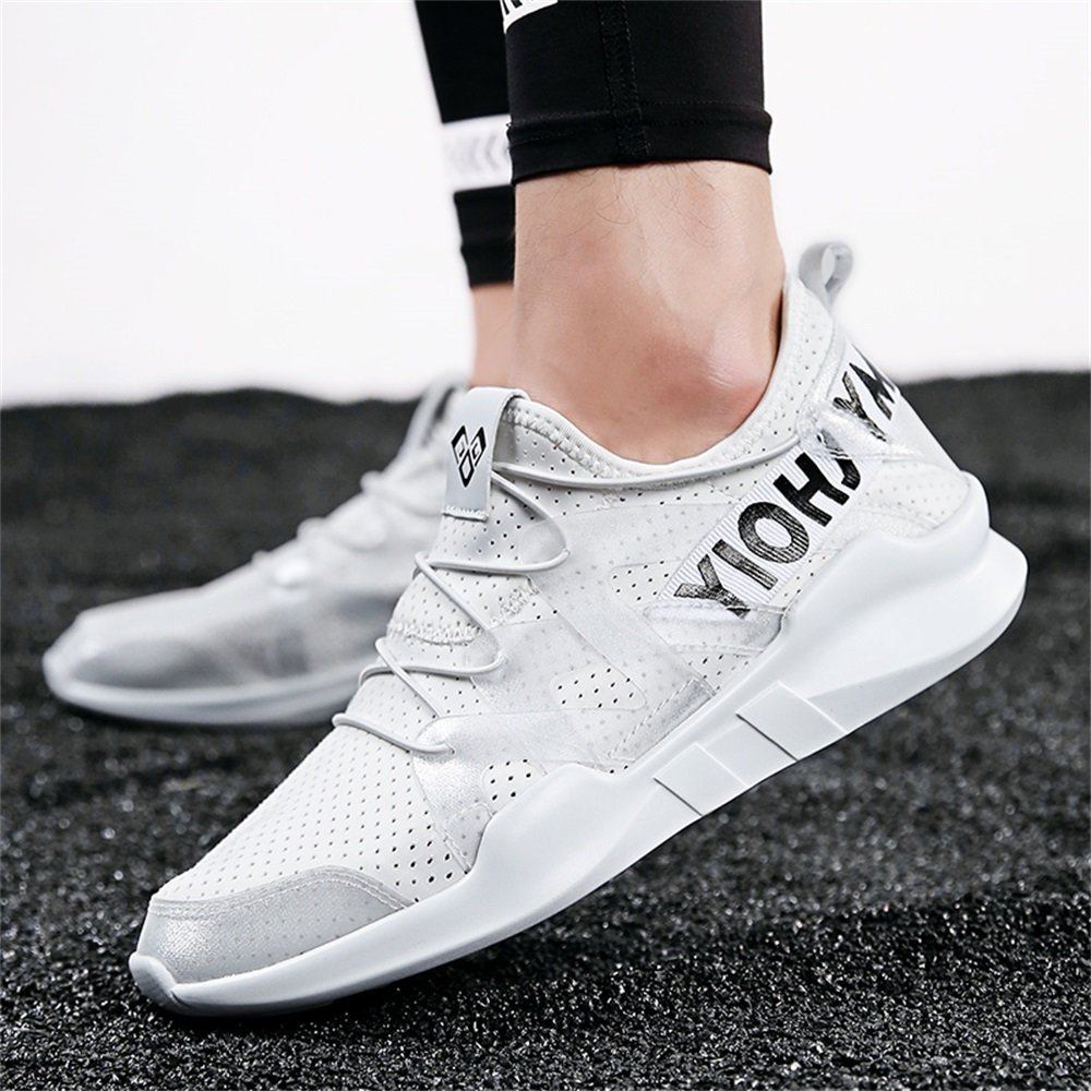 Men's Light Weight Sports Shoes Running Walking Breathable Fashion Sneakers (US 7.5, White)