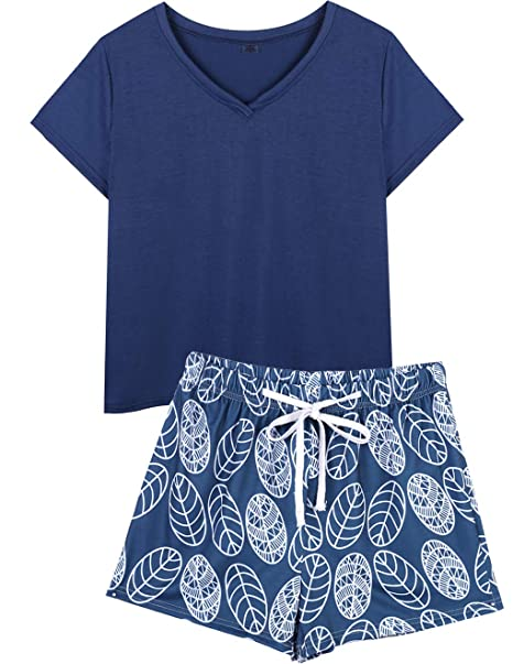 b4f1437618 VENTELAN Summer Pajamas for Women Plus Size Ladies V-Neck Sleepwear Shorts  Pjs Navy Blue