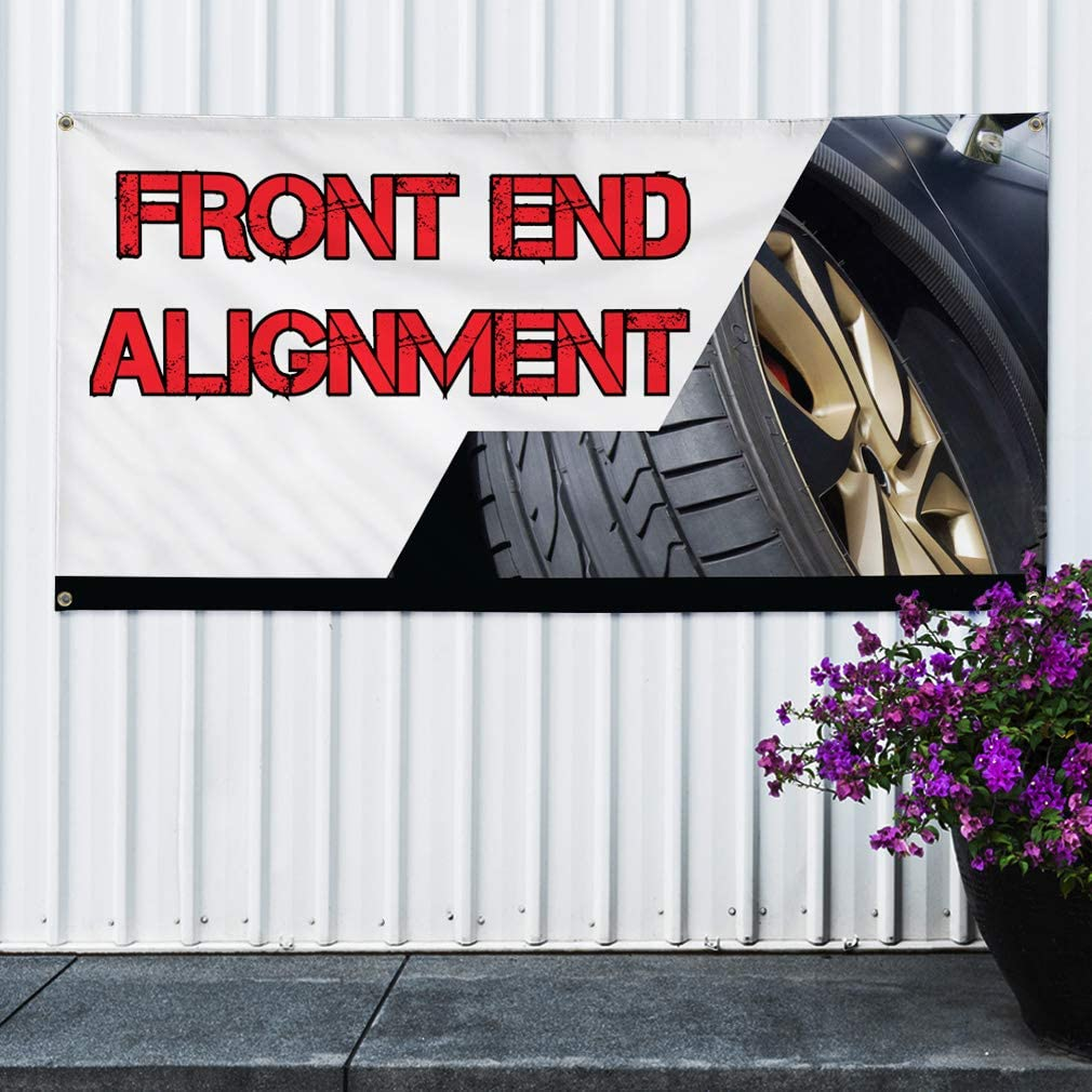One Banner Multiple Sizes Available Vinyl Banner Sign Front End Alignment Automotive Front Marketing Advertising White 48inx96in 8 Grommets