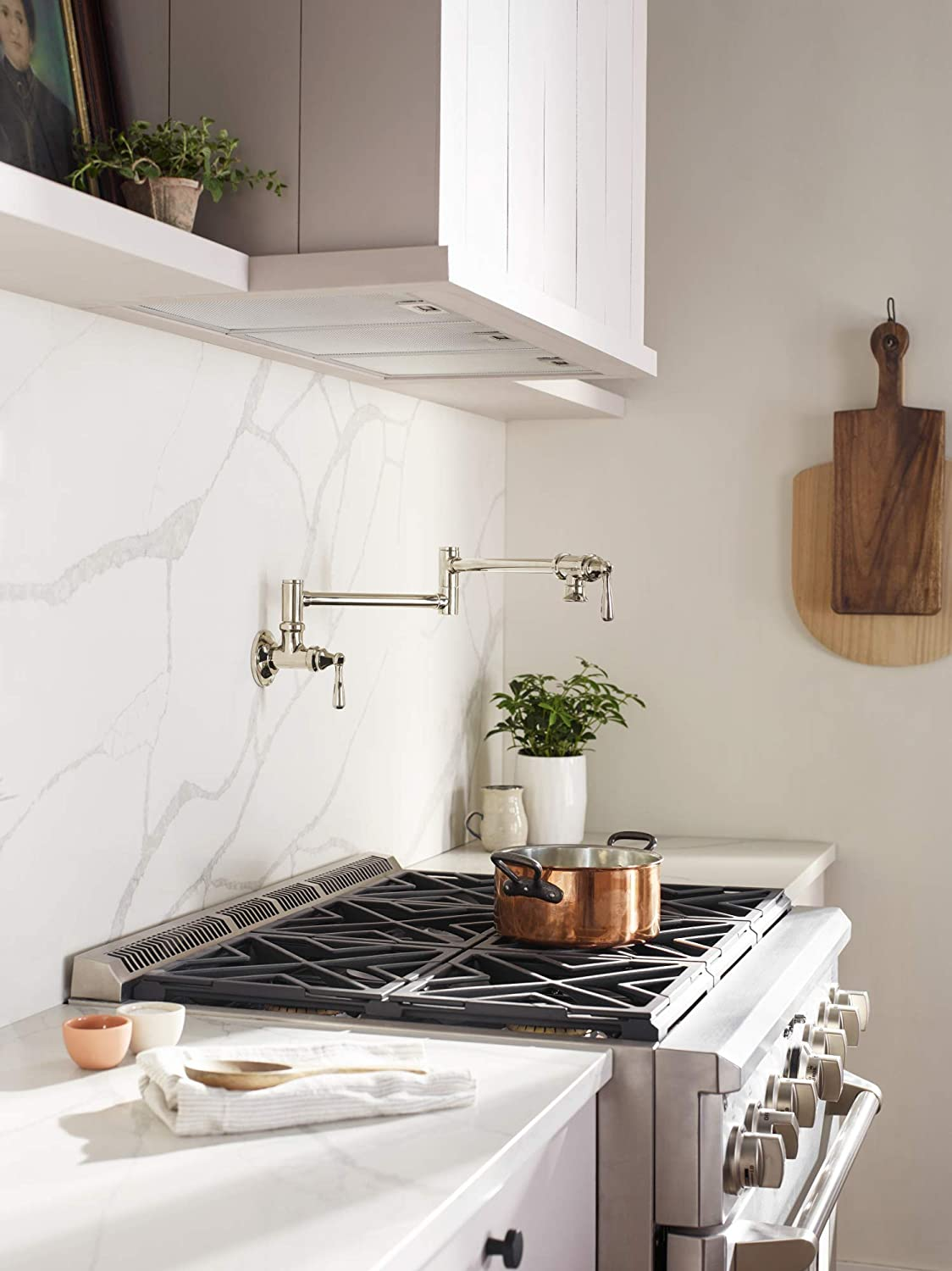 Polished Nickel Moen S664NL Traditional Wall Mount Swing Arm Folding Pot Filler Kitchen Faucet