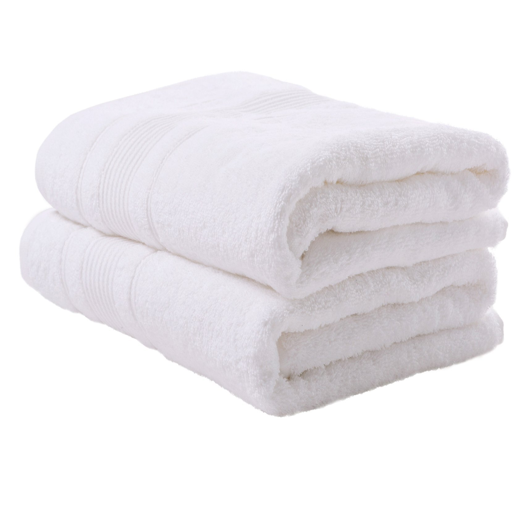 2 PACK Bath Towels Set | Premium Quality Luxury Turkish Cotton Absorbent AND Super Soft - WHITE
