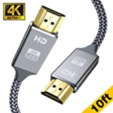 4K HDMI Cable 10ft - Capshi High Speed 18Gbps HDMI 2.0 Cable - HDCP 2.2-4K HDR, 3D, 2160P, 1080P, Ethernet - 28AWG Braided HDMI Cord - Audio Return Compatible TV, PC, Blu-ray Player, Apple TV (Color: Grey, Tamaño: 10 feet hdmi cable)