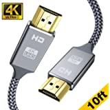 4K HDMI Cable 10ft - Capshi High Speed 18Gbps HDMI 2.0 Cable - HDCP 2.2-4K HDR, 3D, 2160P, 1080P, Ethernet - 28AWG Braided HDMI Cord - Audio Return Compatible TV, PC, Blu-ray Player, Apple TV