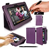 G-HUB PropUp Case Cover in Electric Purple Carbon Fibre Print for Amazon Kindle Fire HD (Original model, not newest 2013 model) Case includes: integrated stand function & magnetic sleep sensors & BONUS G-HUB ProPen Stylus
