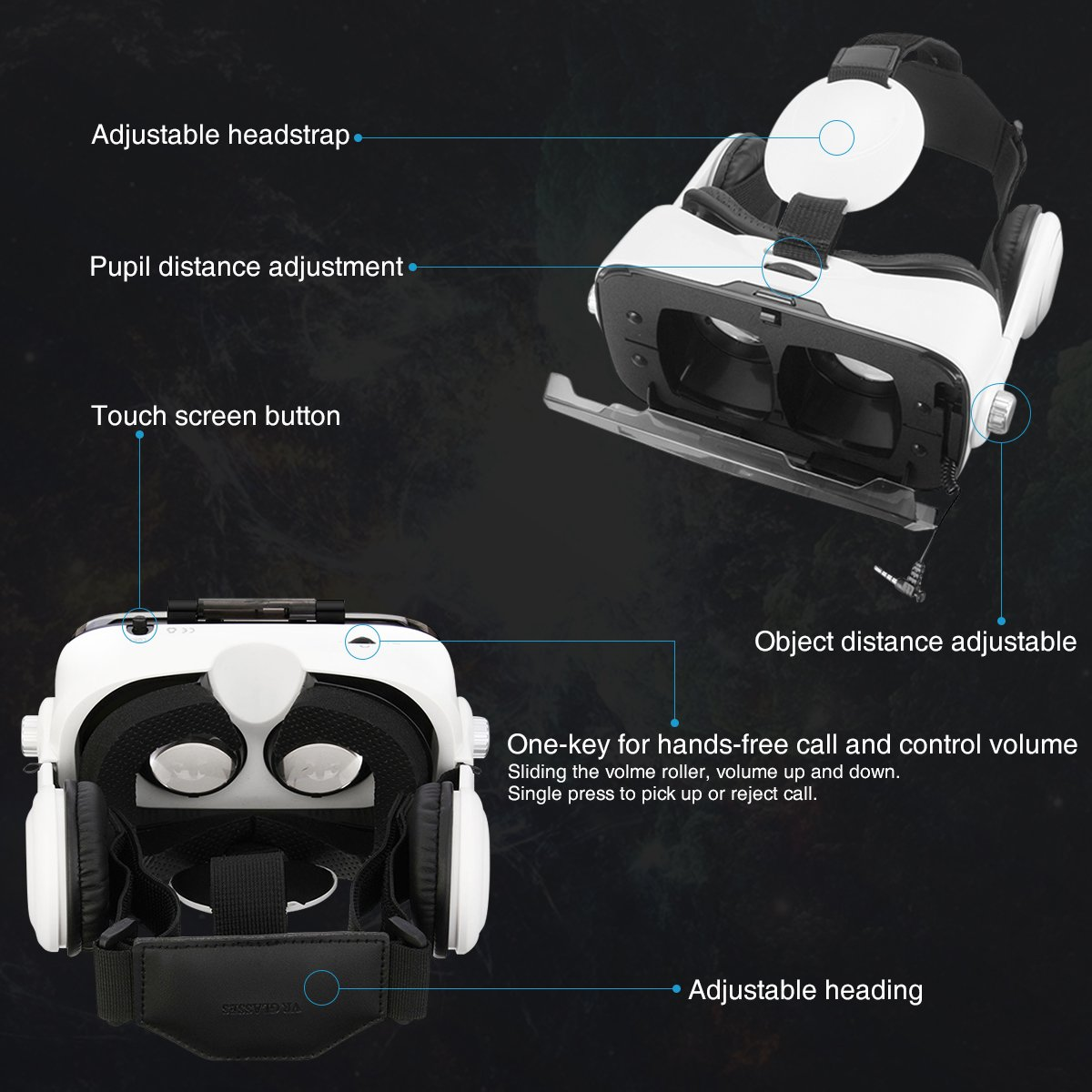 ELEGIANT VR Headset, 3D VR Glasses, Virtual Reality Headset Built-in Headphone by ELEGIANT (Image #2)