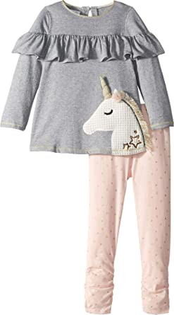 4365360d1f1f98 Amazon.com: Mud Pie Womens Unicorn Ruffle Tunic and Leggings Two ...