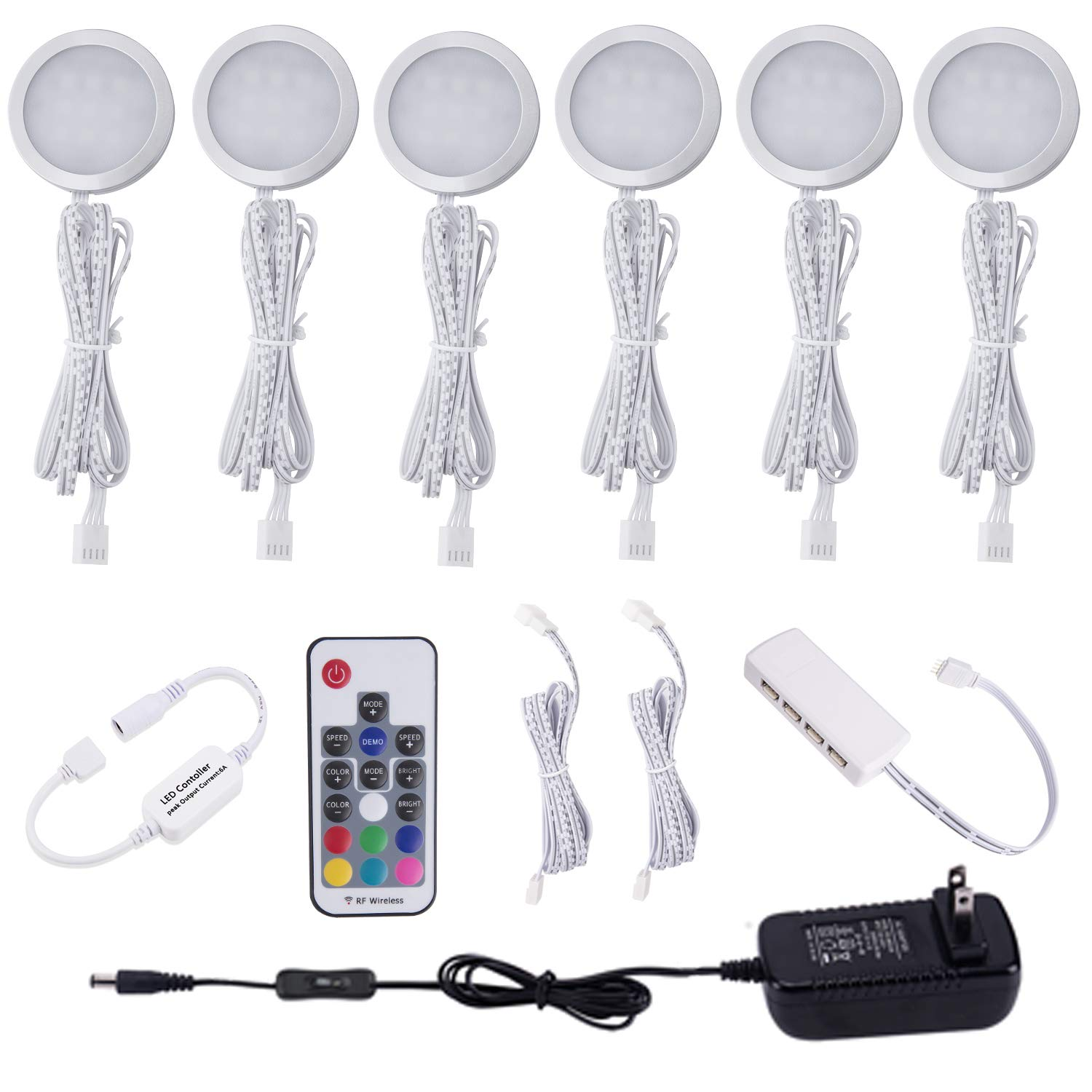 Aiboo RGB Color Changing LED Under Cabinet Lights Kit Aluminum Slim Puck Lamps for Kitchen Counter Wardrobe Counter Furniture Ambiance Christmas Decor Lighting (6 lights)