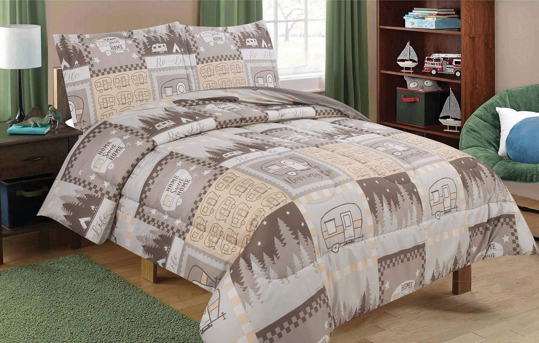 HowPlum Full/Queen RV Camping Comforter Bedding Set Motorhome Camper Stars, Brown, Tan, and White