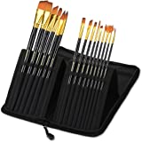 Artist Paint Brushes 15 pieces - for Acrylic Oil Watercolor Gouache and Face Painting - for Artists Beginners and Kids