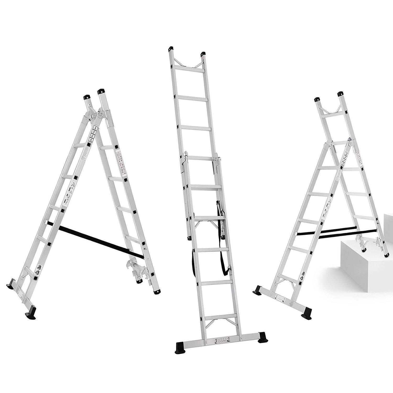 SONGMICS Alu Leiter Treppenleiter Universalleiter 3-Wege-Haushaltsleiter Reichh/öhe inkl Arml/änge 3.5 m bis 150 kg belastbar entspricht EN 131 GLT260