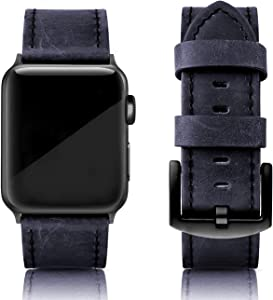 SWEES Leather Bands Compatible with iWatch 42mm 44mm Women Men, Genuine Leather Vintage Strap Silver Buckle Compatible iWatch SE Series 6 Series 5 Series 4 Series 3 Series 2 Series 1, Retro Brown