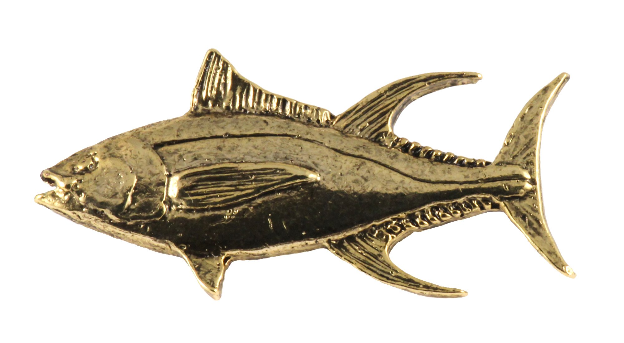 Creative Pewter Designs, Pewter Yellowfin Tuna Handcrafted Saltwater Fish Lapel Pin Brooch, 24k Gold Plated, SG011