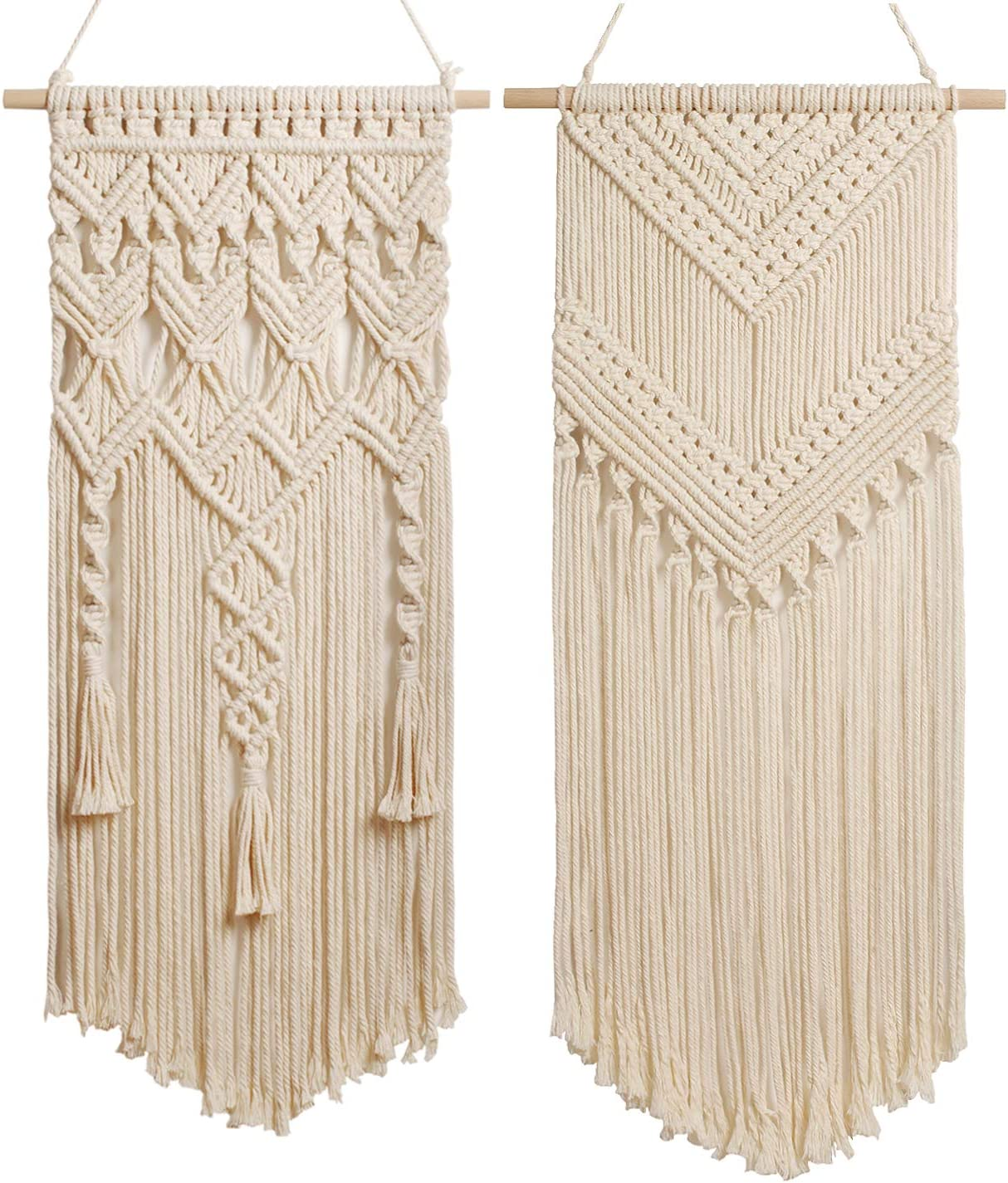 2 Pcs Macrame Woven Tapestry Wall Hanging, Boho Chic Bohemian Home Geometric Wall Art Decor – for Home Decor, Dorm room, Apartment, Nursery, Gallery, Party Decorations, 28 L x 13.8 W 29 L x13 W