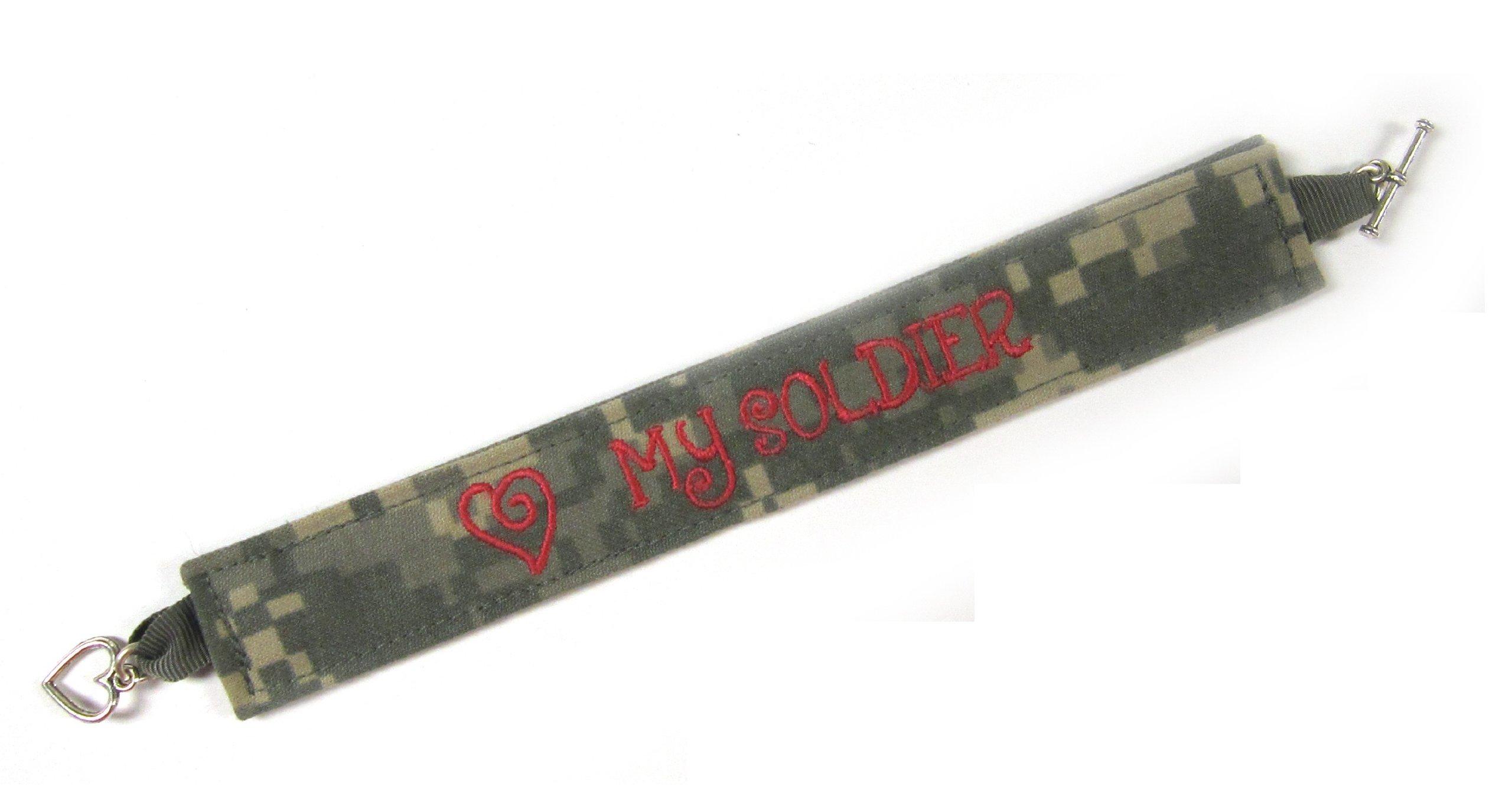 U.S. Army Name Tape Military Bracelet, Army Camo Bracelet, Army Jewelry, Army Gifts