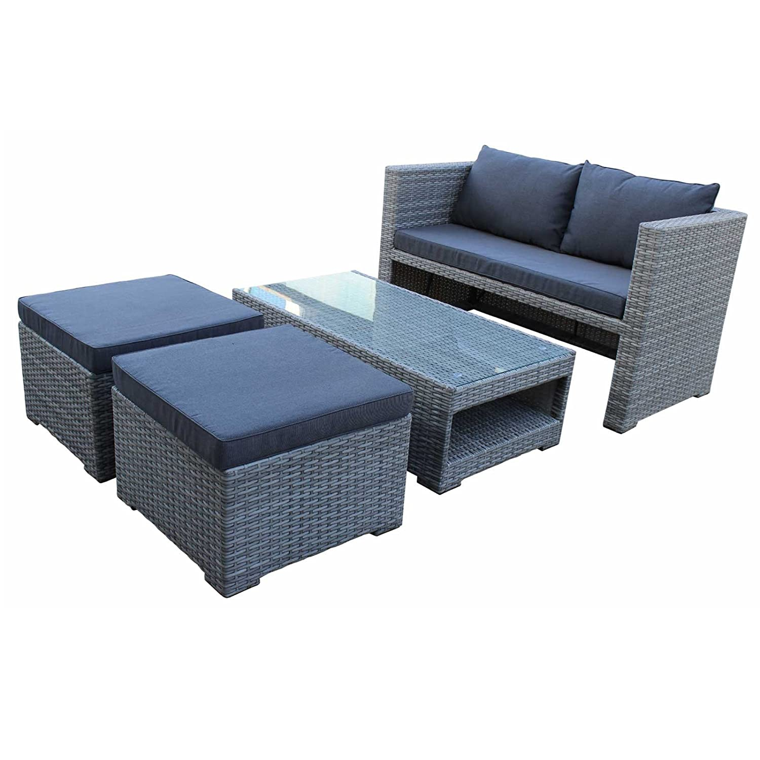 lounge set fiorino hochwertiges polyrattan farbe grau bicolor wetterfest g nstig online kaufen. Black Bedroom Furniture Sets. Home Design Ideas