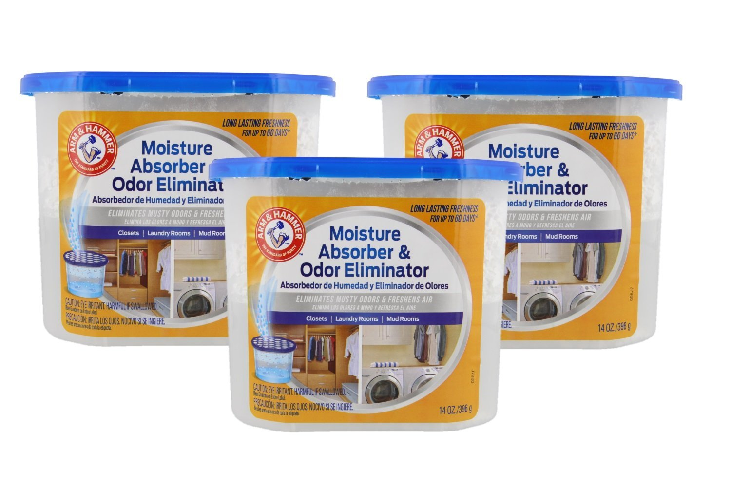 Arm & Hammer Moisture Absorber & Odor Eliminator 14oz Tub, 3 Pack - Eliminates Musty Odors & Freshens Air for Closets, Laundry rooms, Mud Rooms, white