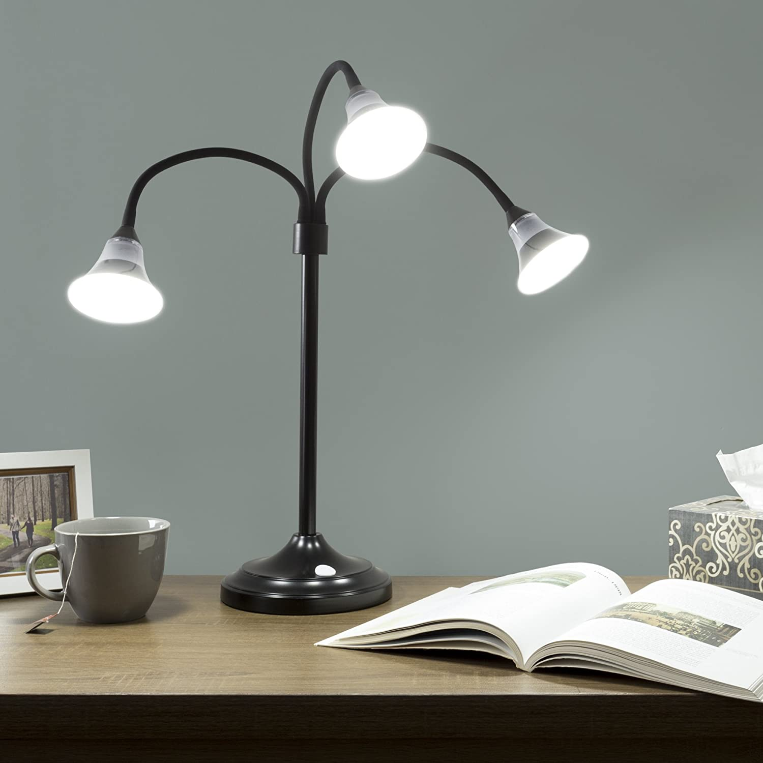 Touch Switch and Dimmer Lavish Home 72-4001B 3 Head Floor Lamp Black LED Light with Adjustable Arms