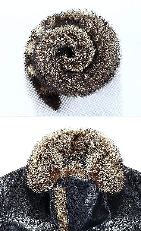 TMHOO Hommes Haute Qualité Véritable en Peau de Mouton Fourrure Manteau Hiver Épaissir Chaud Long Veste Parka Outwear Noir