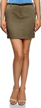 oodji Ultra Mujer Falda Recta con Cintur/ón