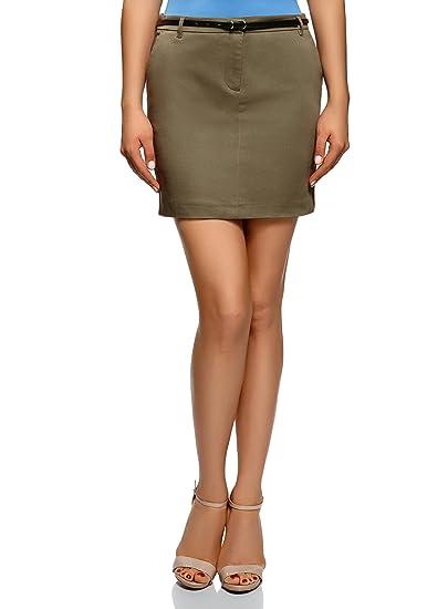 oodji Ultra Mujer Falda Corta de Algodón con Cinturón: Amazon.es ...