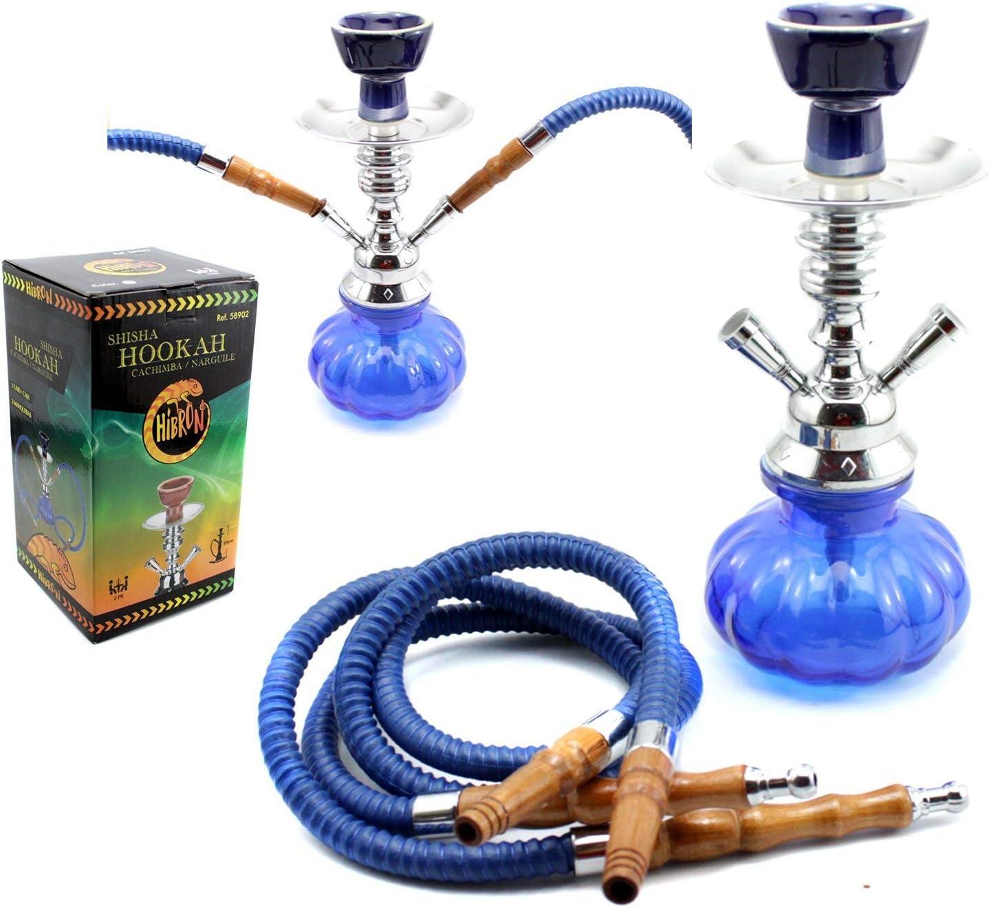 HIBRON® Cachimba shisha hookha pequeña 25cm 2 mangueras, kit de iniciación completa premium (azul)