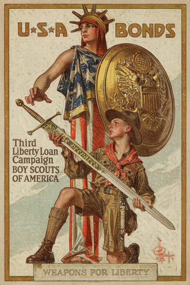 Third Liberty Loan Campaign - Boy Scouts of America Vintage Poster (artist: Leyendecker) USA c. 1918 (24x36 Giclee Gallery Print, Wall Decor Travel Poster)