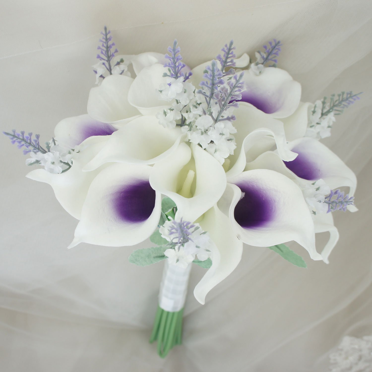 Lily Garden Mini 15'' Artificial Calla Lily 16 Stem Flower Bouquets with Ribbon (Purple Center with Lavender) by Lily Garden