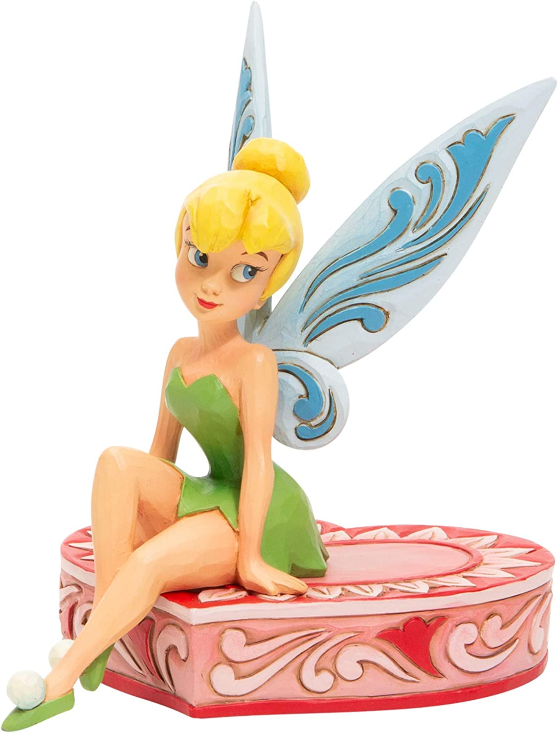 Enesco Disney Traditions by Jim Shore Peter Pan Tinker Bell Sitting on Heart Figurine, 5 Inch, Multicolor