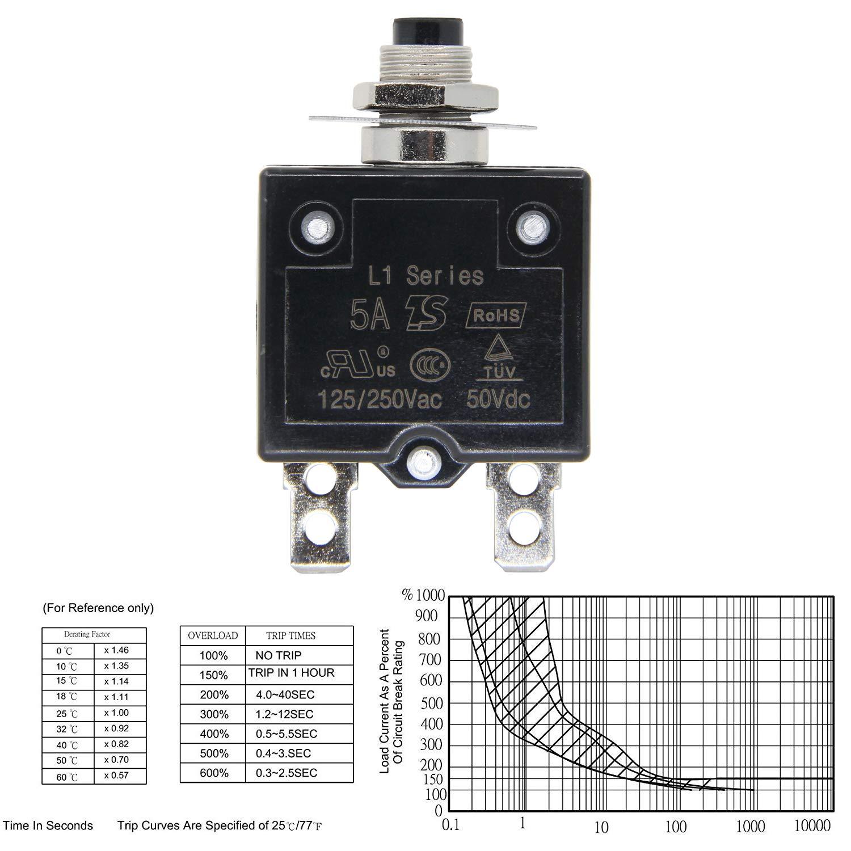 RKURCK 125-250V AC 50V DC Push Button Circuit Breaker 10Amp Thermal Overload Protector L1 Series Manual Reset Thermal Circuit Breaker 10A