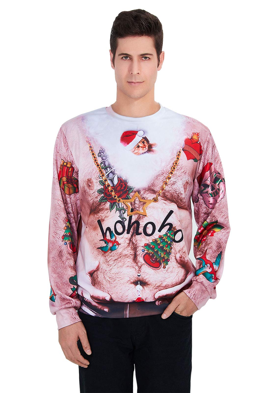 TUONROAD Ugly Christmas Sweater Ugliest Santa Mask Green Red Bird Flowers Awl Gold Star Necklace Adults Graphic Printed Tacky Sweatshirt Crew Neck Long Sleeve Crazy Pullover Jumper Top