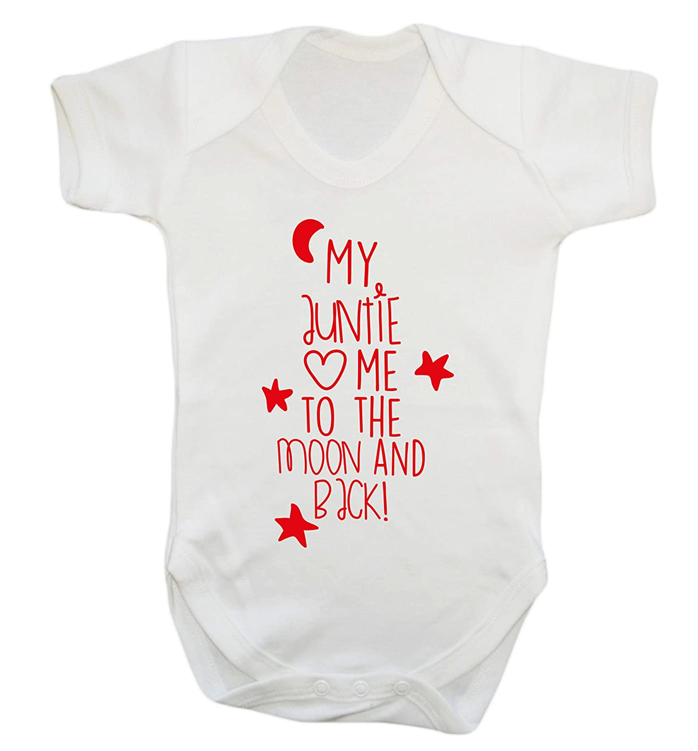 My auntie loves me to the moon and back baby vest bodysuit babygrow