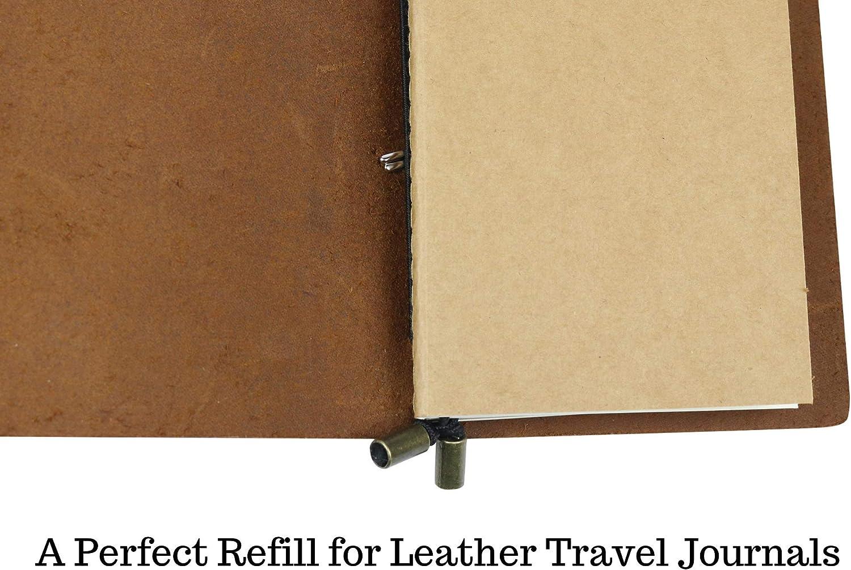3er Set Tageb/ücher und Planer Perforated Lined Inserts f/ür Leder Reisetageb/ücher Perforiertes Nachf/üllbares Reisetagebuch Papier Linierte Nachf/üllbl/ätter Abtrennbare Seiten 21cm x 11cm