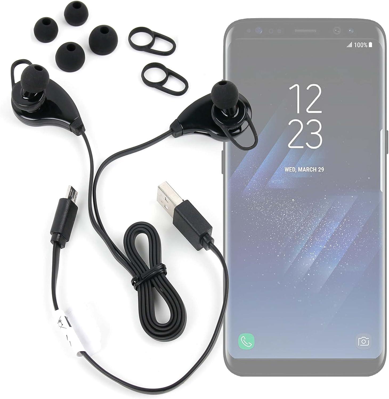 DURAGADGET Auriculares inalámbricos en Color Negro para Smartphone Samsung Galaxy C9 Pro, Samsung Galaxy S8, Samsung Galaxy S8+, Samsung S336C: Amazon.es: Electrónica