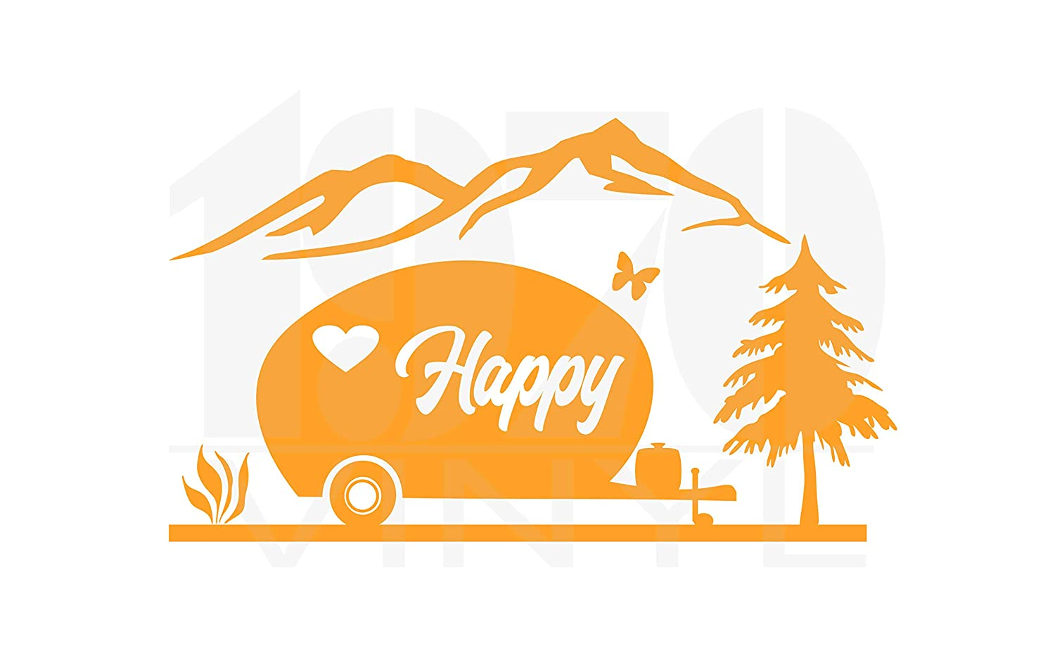 Window Decal Happy Camper Mountain Scene Vinyl Decal Fast shipping!
