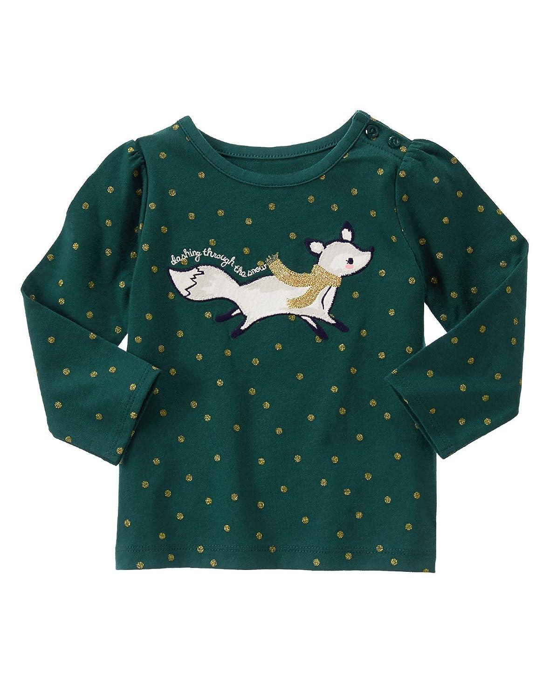 Gymboree Baby Girl Spruce Dot Cozy Fox Dashing Through The Snow Long Sleeve Tee