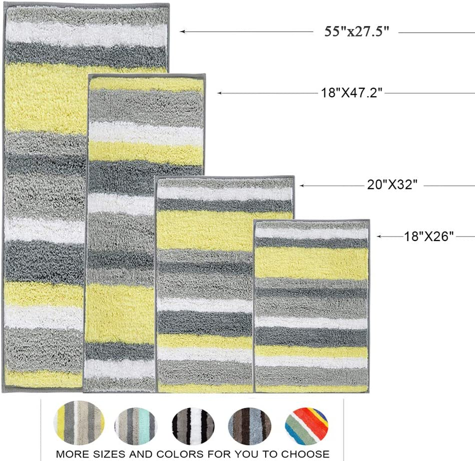 HEBE Bath Rug Set of 2 Piece Microfiber Bathroom Rugs Sets Non Slip Shag Bath Mat Rug for Bathroom Kitchen Bedroom Washable 26x18+32x20 2 Packs
