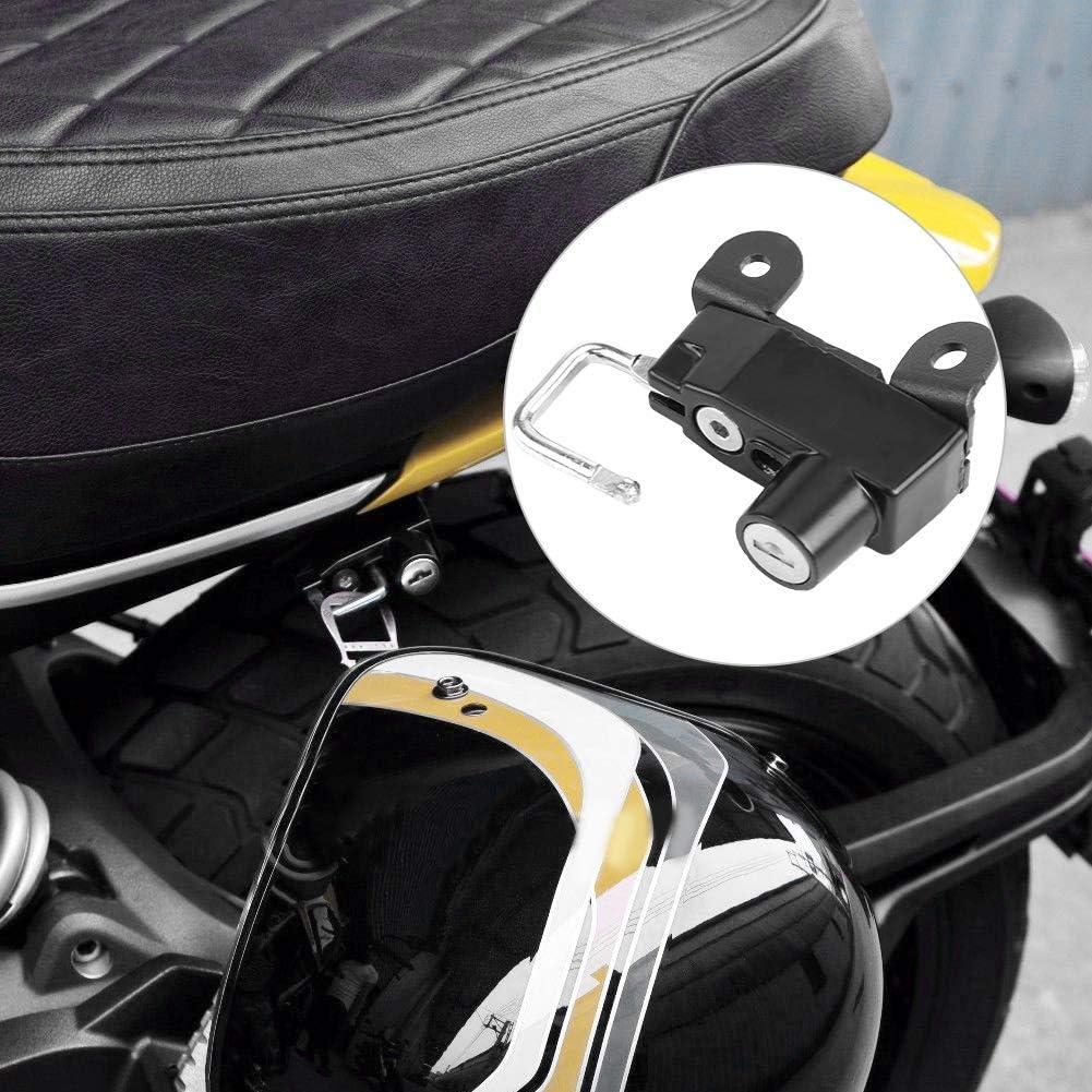 Qiilu Motos Cadres raccords Guidons Serrure de Casque de Moto avec 2 cl/és pour Ducati Scrambler 400 mod/èles Soixante Soixante 2 2015+